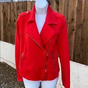Carolina Belle Red Moto Jacket with Zipper XS